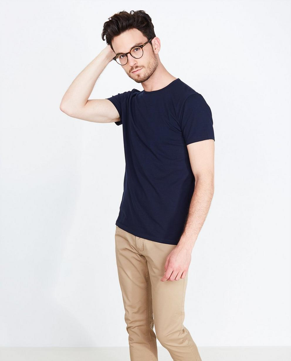 T-shirt bleu marine - en coton bio - Iveo